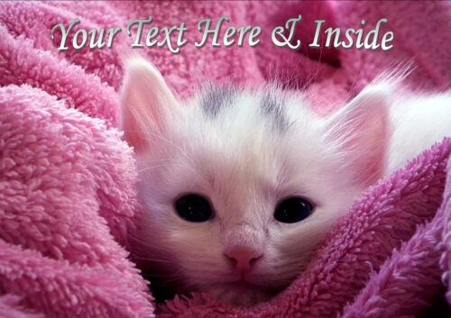 PERSONALISED WHITE KITTEN CAT BIRTHDAY ANNIVERSARY ANY OCCASION CARD insert