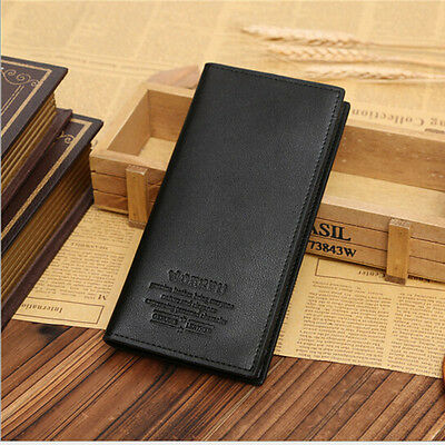 Mens Long Casual Leather Black Wallet Pockets Card Clutch Cente Bifold Purse Hot