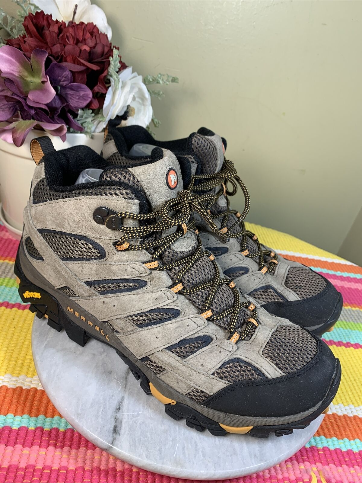 Merrell Hommes J06045 Grey Taupe Leather Walking Trail Shoes Men's 46.5 US 12 M