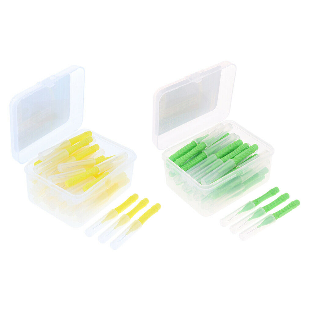 80pcs weiche Interdentalbürsten Zahnbürste Zahnreinigungswerkzeug Gelb + Grün