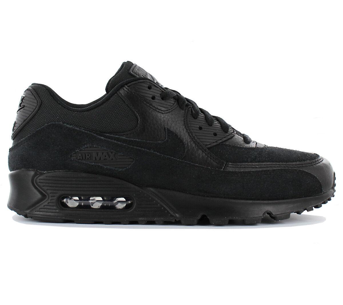 Nike Air Max 90 Leather Premium Herren Schuhe Turnschuhe Schwarz 700155-012 NEU