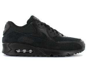 Détails sur Nike Air Max 90 Leather Premium Chaussures Baskets Homme Noir 700155 012 Neuf