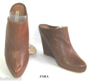 Cm Condizioni Suola Tutti Compensata di buone Zara molto pellami marrone 12 da i 39 pelle 38 pIUHxOnx