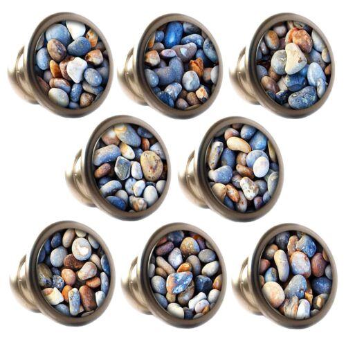 Zinc Alloy Knobs Pebbles 30mm Cupboard Drawer Door Handles Decorated