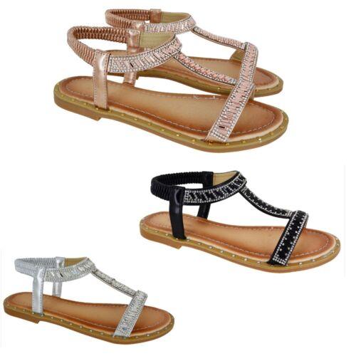 Womens Ladies Diamante Open Toe Sling Back Flat Low Heel Summer Sandals Shoes