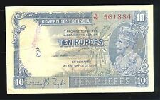 BRITISH INDIA,KING GEORGE V,10 RUPEE NOTE,Yr:1933, sig;J.B.TAYLOR,V RARE