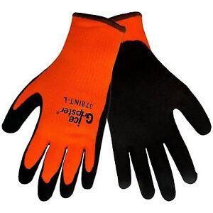 Global Glove 378INT Ice Gripster Rubber Winter Gloves Orange/Black NEW WARM