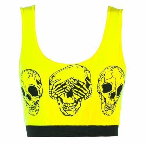 Ladies Womens Stretch Sleeveless Bralet Bra 3 Skulls Cropped Cropped Vest Top