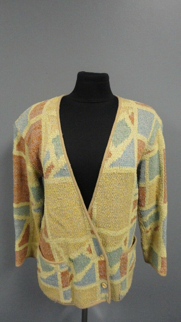 MISSONI Red Yellow bluee Wool Blend Button Front Cardigan Sweater Size M FF3119