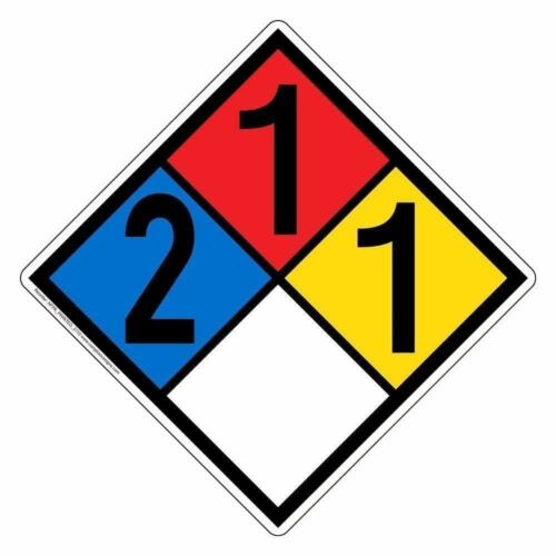 NFPA 704 2-1-1-0 Hazard Diamond Placard Sign 10x10 in Made in USA Plastic