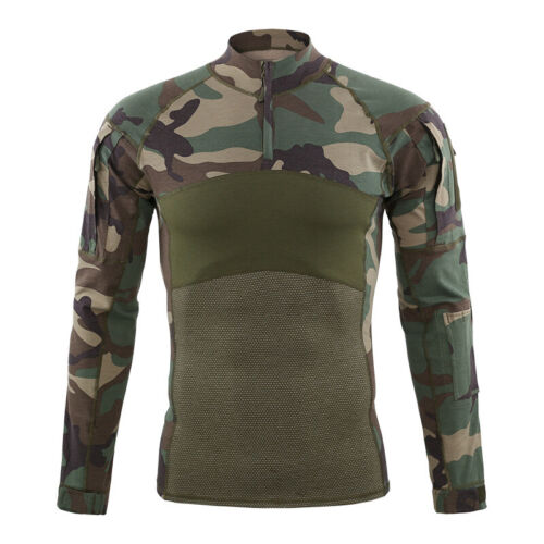 ESDY Mens Military T-shirt Army Tactical Combat Casual Shirt Pullover Camouflage