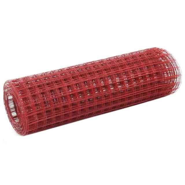 vidaXL Grillage Métal Acier Revêtement PVC 25x0,5 m Carré Rouge Clôture Jardin