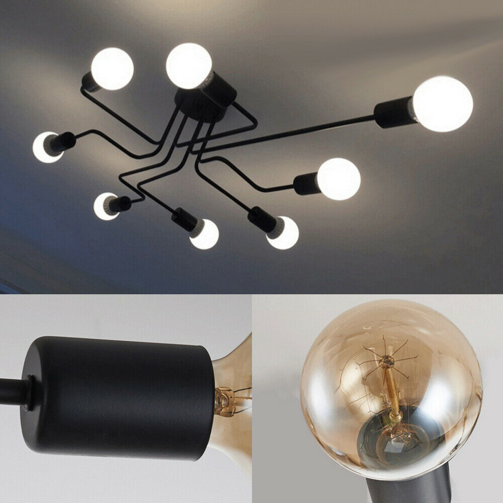 E27 Retro Ceiling Light Modern Vintage Industrial Metal Pendant Lamp 4//6//8//10Way