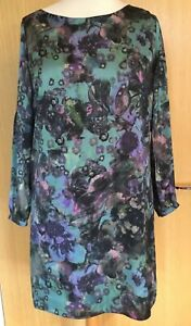 Wallis-Ladies-Dress-14-Silky-Tunic-Evening-Occasion-Party-Floral-Unusual