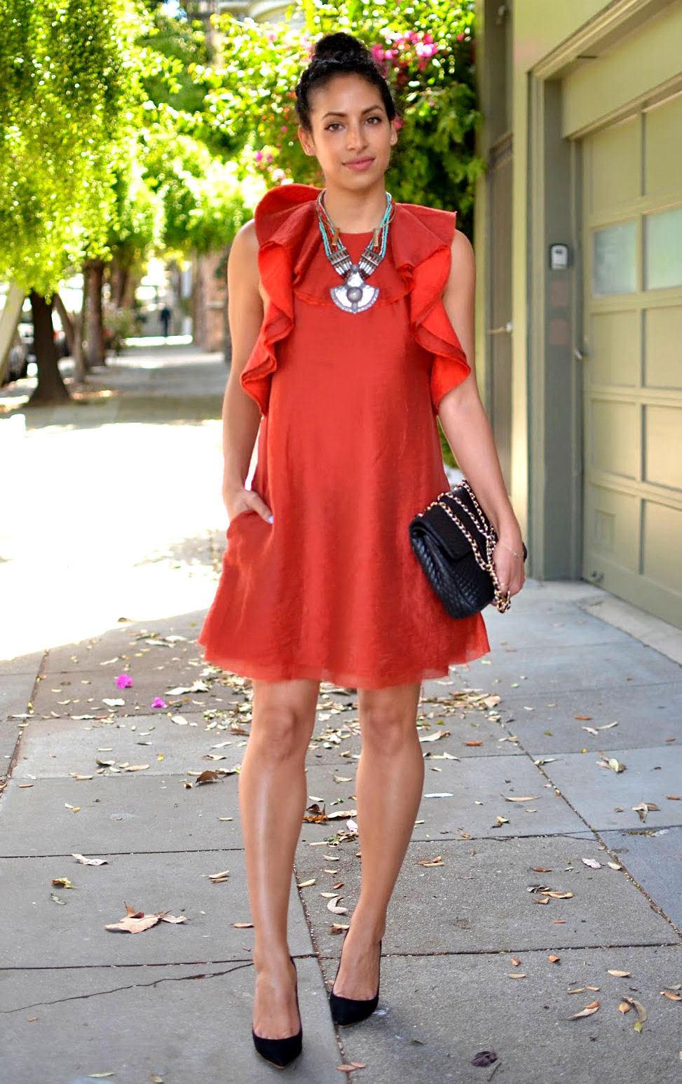 H&M Conscious Collection Collection Collection Ruffled A-Line Lyocell Mix Dress Orange rot UK 16 EU 42 | Angenehmes Aussehen  | Überlegen  | Deutschland Frankfurt  | Wonderful  | Hohe Qualität  60cd07