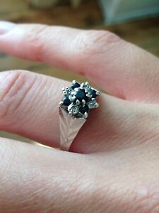 VINTAGE-SOLID-9CT-White-GOLD-DIAMOND-AND-SAPPHIRE-RING-ART-DECO-ANTIQUE