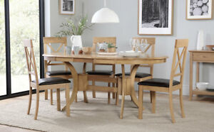 Townhouse Kendal Oval Oak Extending Dining Table Chairs Set - Oval oak dining table and 6 chairs