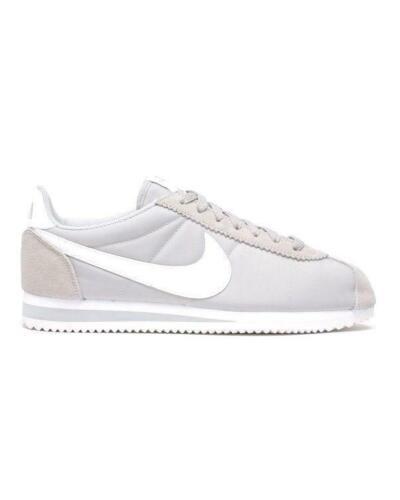 Hommes Nike Classique Cortez Nylon Gris Baskets Blanc 807472 010