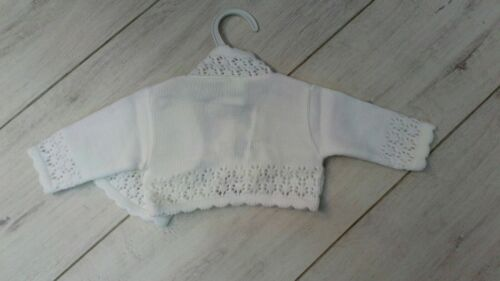 BNWT Baby Girl White Bolero Cardigan And Matching Hat With Open Knit Edging