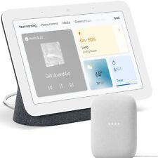 Google Nest Hub Display Gen 2, Charcoal + Google Nest Audio Smart Speaker, Chalk