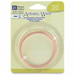 Beadalon 21-Gauge Jewelry Artistic Wire//Flat Wire 3-Feet Silver Plated Gold