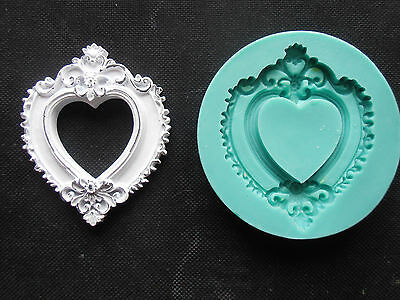 Silicone Mould FRAME HEART Sugarcraft Cake Decorating Fondant / fimo mold