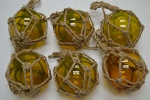 """6 PCS REPRODUCTION YELLOW GLASS FLOAT BALL BUOY WITH FISHING NET 4/"""" #F-509"""