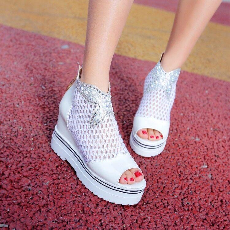 Women Wedge Heels Peep Toe Breathable Sneakers Platform Creepers Zip Casual shoes