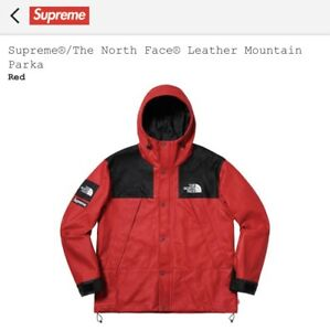 Image Is Loading Supreme The North Face Leather Red Mountain Parka