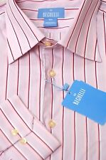 Bechelli Men's Pink White & Merlot Stripe Cotton Dress Shirt 16.5 x 35 New