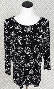 Womens-Style-Rite-Black-White-Floral-3-4-Sleeve-Top-Blouse-Dress-Shirt-Large-L
