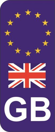 Great Britain GB Flag EU Car Number Plate Domed Sticker Decal Pack of 2