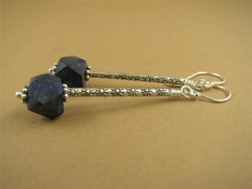 Handmade. Fine /& sterling silver Flowers Long drop earrings with lapis lazuli