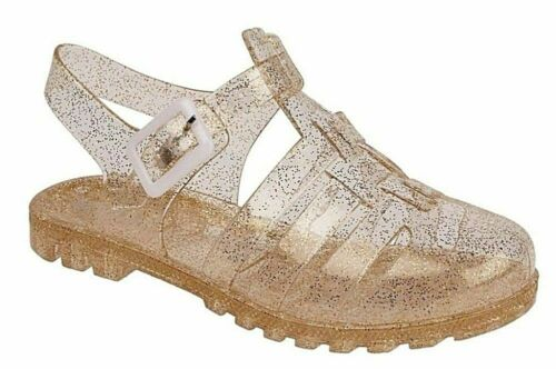 Children/'s kids Girls glitter Jelly Shoes Summer Beach Sandals Gold Pink Clear