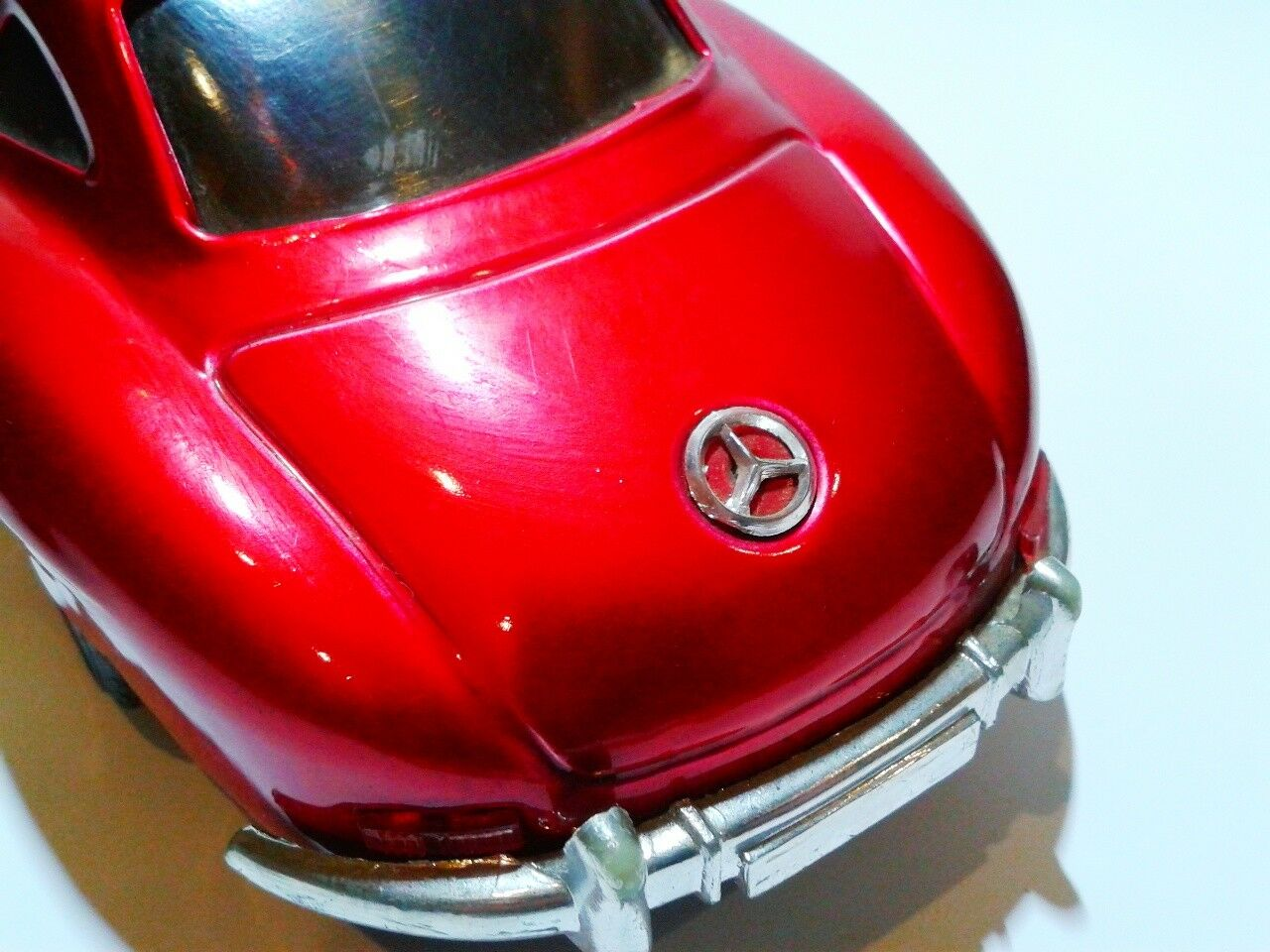Vintage tin plate Mercedes 300 SL Gullwing Gullwing Gullwing cherry red friction scale ca.1 18 bb5657