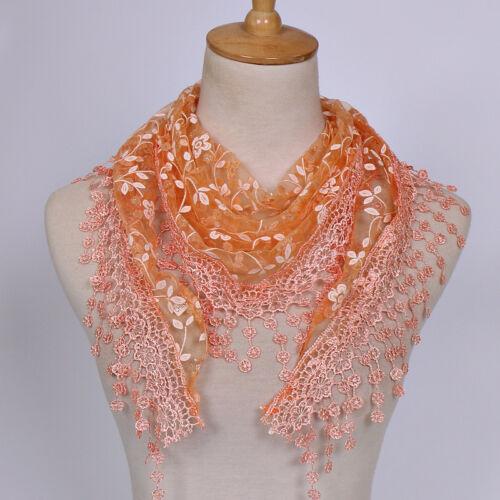 Women Lace Sheer Triangle Veil Church Mantilla Scarf Shawl Wrap Tassel Floral CA