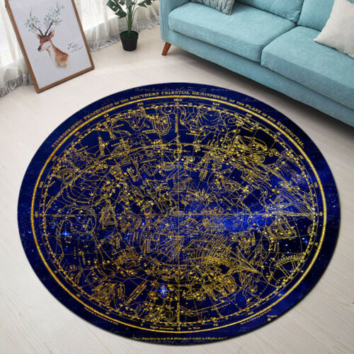 Antique Southern Hemisphere Constellations Area Rugs Living Room Round Floor Mat