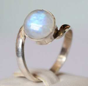 Rainbow Moonstone Silver Ring 925 Solid Sterling Silver Jewelry US-RBM-039