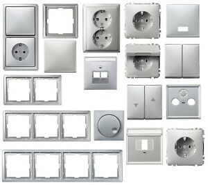 Merten-artec-Farbe-aluminium-silber-Steckdose-Wippe-Rahmen-zur-Auswahl