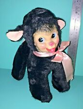 Bijou Rubber Face Black Lamb Sheep Plush Stuffed Animal Vintage Rushton Style