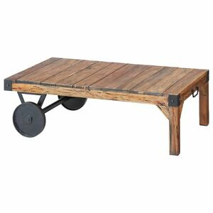 Image Is Loading Table Metal Wood Vintage Style Trolley Movable Wooden