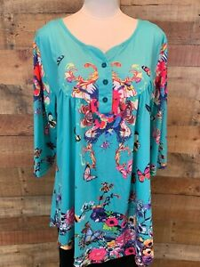 ACLOTH-Women-1X-Plus-Blue-Pink-Butterfly-Floral3-4-Sleeve-Tunic-Top-Shirt-NWOT