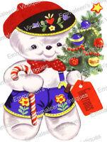 Vintage Image Christmas Folk Art Snowman With Tree Waterslide Decals Chr210