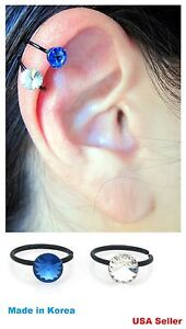 Clip On Acrylic Fake Hoop Crystal Hold By Tension Non Piercing Ear Cuff Ring Ebay