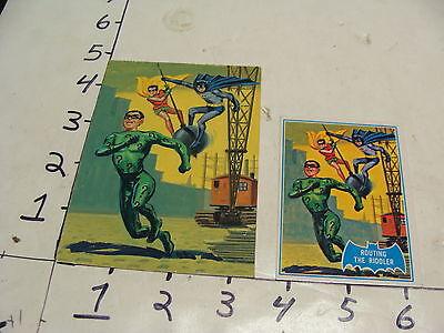 1966 Blue Bat ORIGINAL ART--Routing the Riddler card BATMAN & ROBIN & RIDDLER