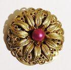 serre passe foulard ancien bijou vintage couleur or gravé relief perle 3181