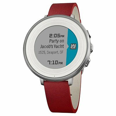 Pebble Time Round Smartwatch 14mm Stainless Steel with Silver / Red Leather