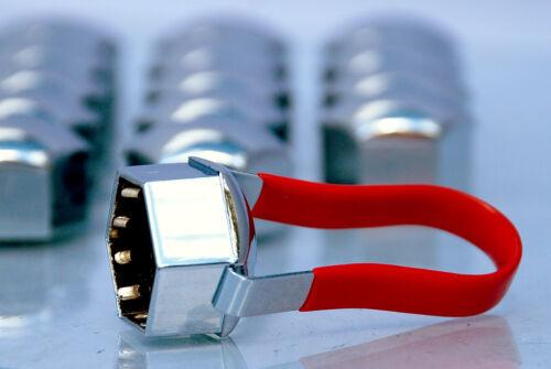 20 Cromato Universale 19mm ESAGONALE LEGA RUOTA DADI ALETTE BULLONI PUSH su CAPS COVERS