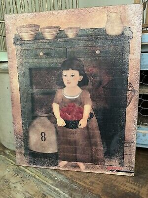 "Antique Reproduction Primitive Folk Art Girl w Sheep Print on Canvas Board 5x7/"""