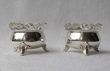 *RAR* Zwei elegante Salznäpfe mit Kristallglas aus 830er Silber